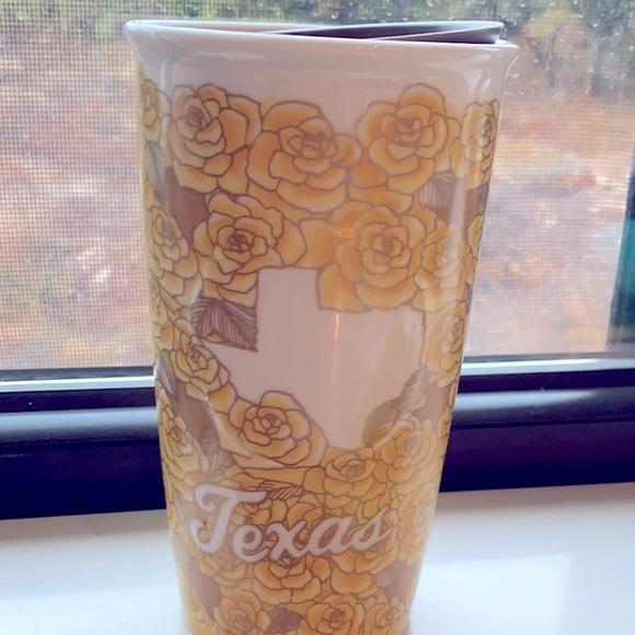 "Starbucks ceramic tumbler ""Yellow Rose of Texas"""